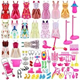 Siiruc 120 Piezas Accesorios para Muñecas Dolls, Ropa y Zapatos para Dolls, Complementos Dolls Mini Vestidos de Moda para Dolls, Perchas y Accesorios de Cocina Regalo de Cumpleaños Niñas