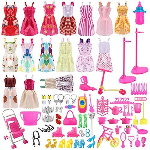 Siiruc 120 Piezas Accesorios para Muñecas Dolls, Ropa y Zapatos para Dolls, Complementos Dolls Mini Vestidos de Moda para...