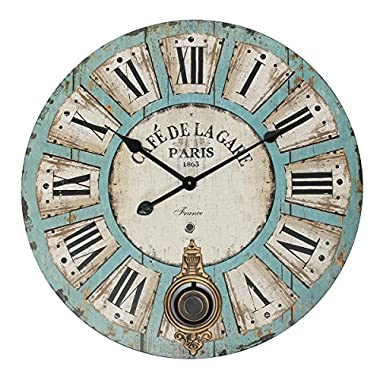 Jeteven 23'' Large Decorative Wall Clock with Pendulum Vintage Rustic Quartz Silent Wall Clock for Living Room Bedroom Kitchen Decor Battery Operated