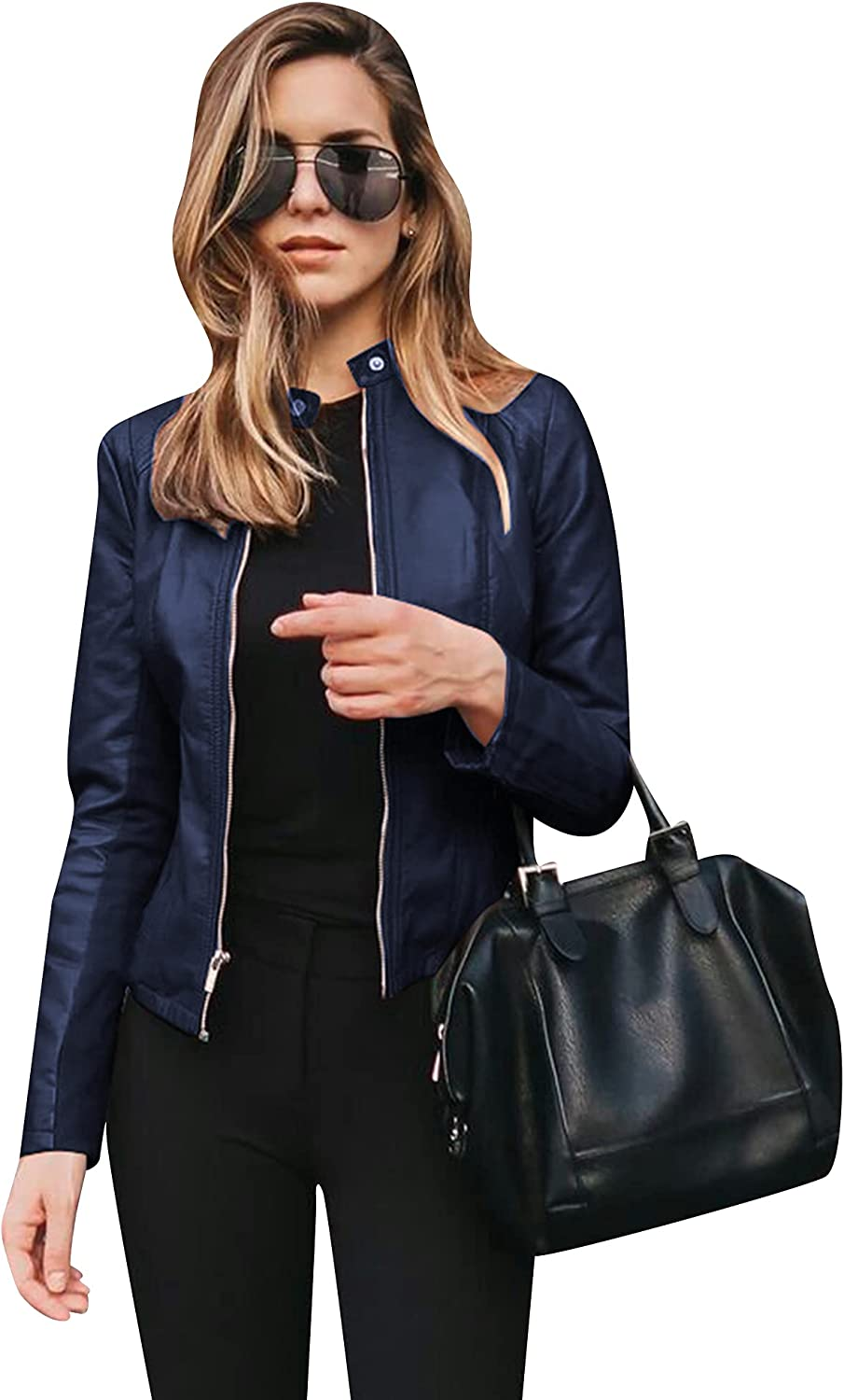 BOFETA Womens Faux Leather Long Sleeve Jackets Quilted Moto Outwear Slim Lapel Coats