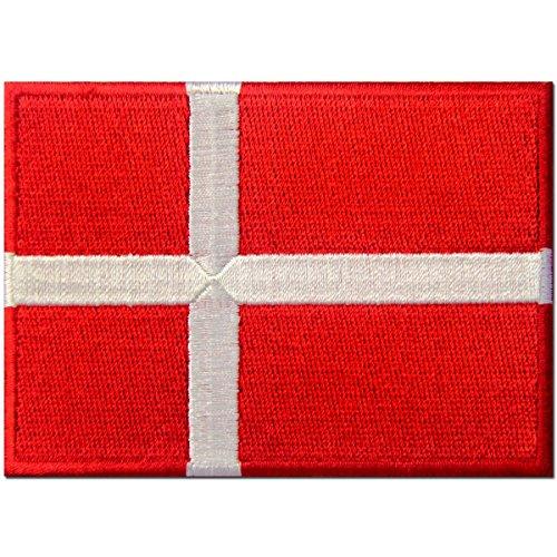Bandera de Dinamarca Danés Emblema nacional Parche Bordado de Aplicación con Plancha