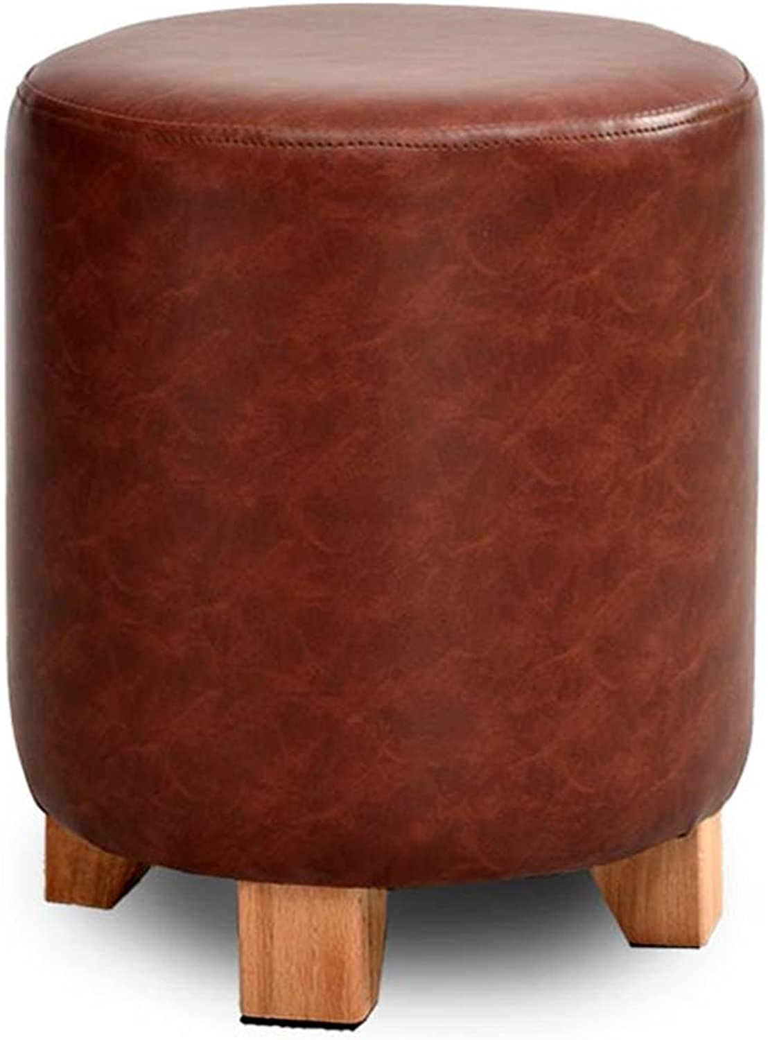 Solid wood stool Upholstered Footsto sofa stool small stool stool fashion dressing stool creative shoes stool shoes stool soft sedentary comfortable not tired ( color   Brown , Size   35cm )