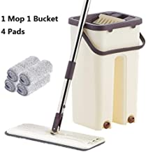 Mop Wet and Dry Flat Squeeze Mop and Bucket Hands-Free Floor Cleaning Mop Wet and Dry Use Magic Automatic Rotation Self-Cl...
