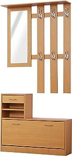 HOMCOM Conjunto de Muebles de Entrada Recibidor Pasillo Set de 3 Piezas Perchero Espejo Zapatero con Cajón 90x22x116cm Mad...