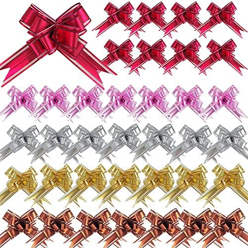 DOULEIN Fiocchi Regalo, 50 Fiocchi di Organza Tipo Self-Pull per Confezioni Regalo, Bouquet, Natale, Decorazioni Nuziali (Rosa, Rosso, Oro, Argento, Marrone)