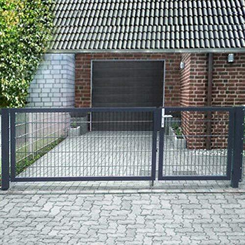 Doppelflügeltor Einfahrtstor 300cm Gartentor asymmetrisch Hoftor Anthrazit/Grau inkl. Schlosseinsatz Set (L 300cm x H 163cm)