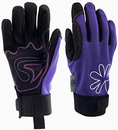 GREENLINE - Breathable Synthetic Leather Garden Gloves Gardening Gloves Working Gloves(Purple/Black)