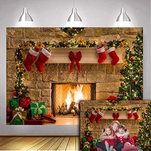 DANIU Feliz Nochebuena Foto Telón de Fondo Árboles de Navidad Navidad Chimenea Regalos Lazo Rojo Fondos Fondos para fotografía 210cmX150cm