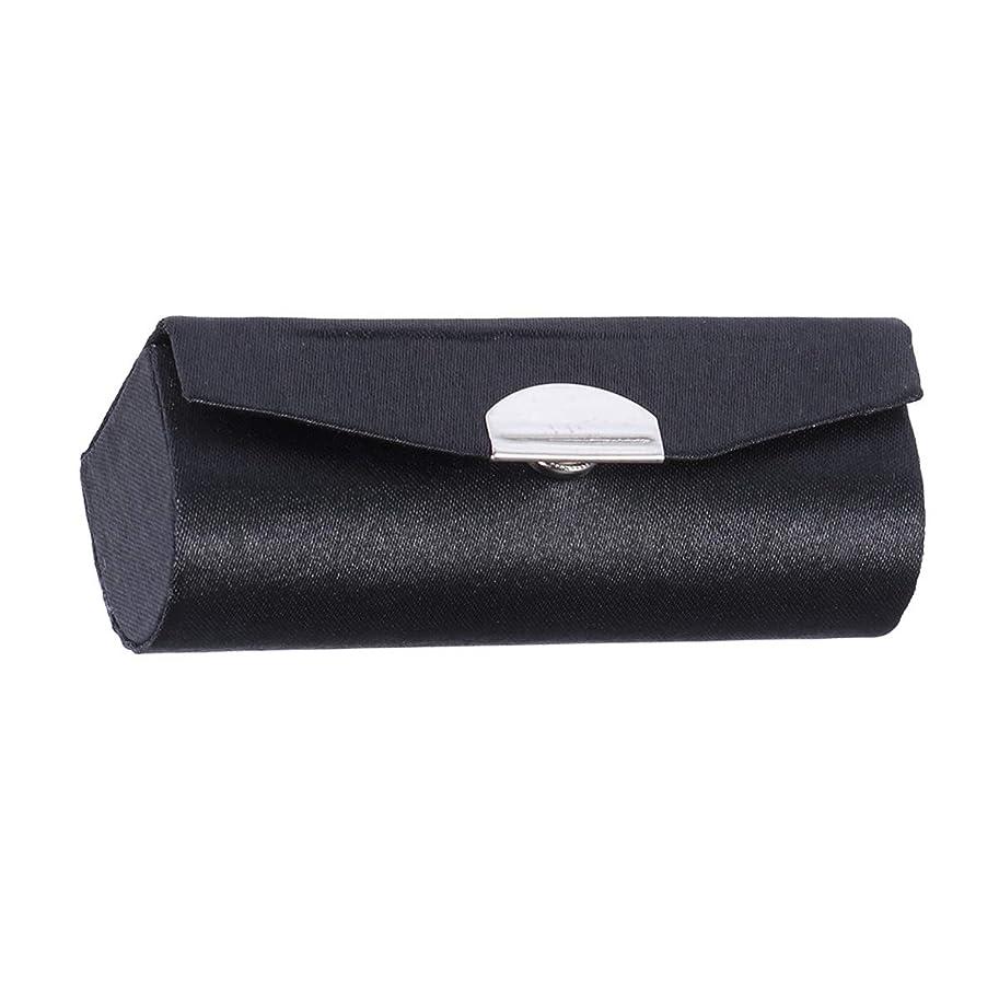 口紅ケースホルダーオーガナイザーバッグ口紅ホルダー耐久性のあるソフト化粧品収納ケース付きミラー(スムースサーフェスブラック)