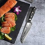 PAUDIN Damast Santokumesser 17cm - Profi Küchenmesser Messer aus Damaststahl mit Micarta-Griff - 5