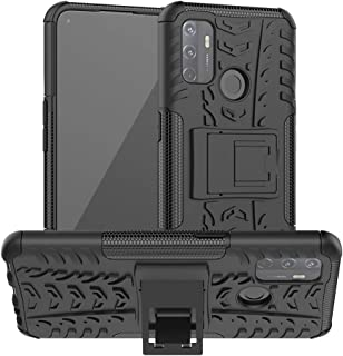 OPPO A53 Case, Ikwcase Heavy Duty Armor Tough Hybrid Shockproof Dual Layer Kickstand Protective Case Cover for OPPO A53 Black