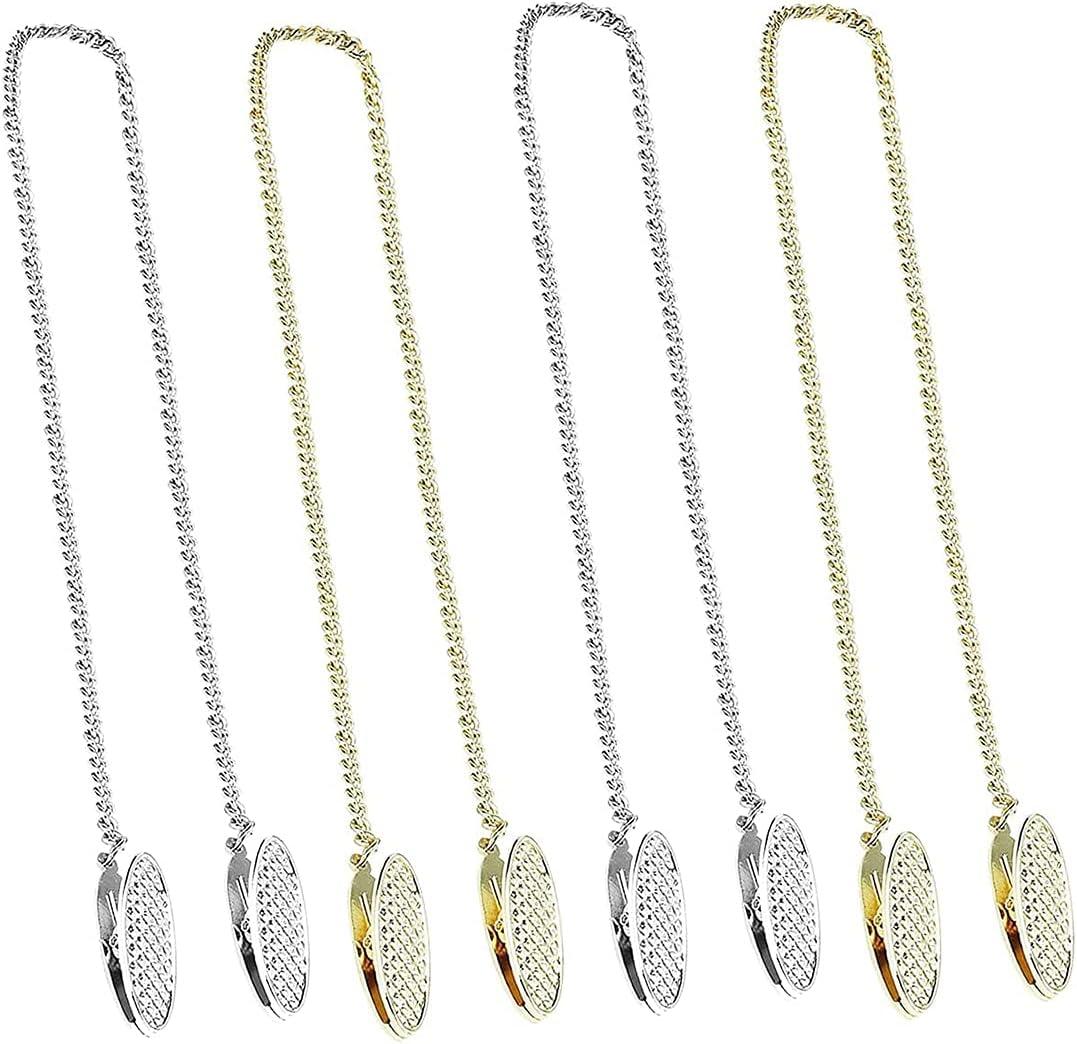 Qiwenr 4pcs Pinzas de Metal para Servilletas Baberos Clips de Cadena para Chupetes Porta Chupete Servilletas Servilleteros para Bebés Ancianos Adultos