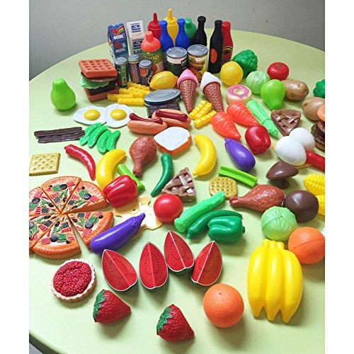 Jouets pour enfants Noël Cadeau 120 Pcs En Plastique Alimentaire Fruits Légumes Jouet Ensemble Cuisine Jouet Jouer Jouet pour Garçons et Filles