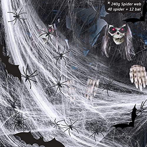 Tela de Araña Decoracion, Halloween Telarañas Horror Juego de Decoración, 240g Telarañas, 40 Arañas y 12 Murciélagos para Fiesta De Halloween y Chimenea, Ventana, Puerta, Pared, Mesa