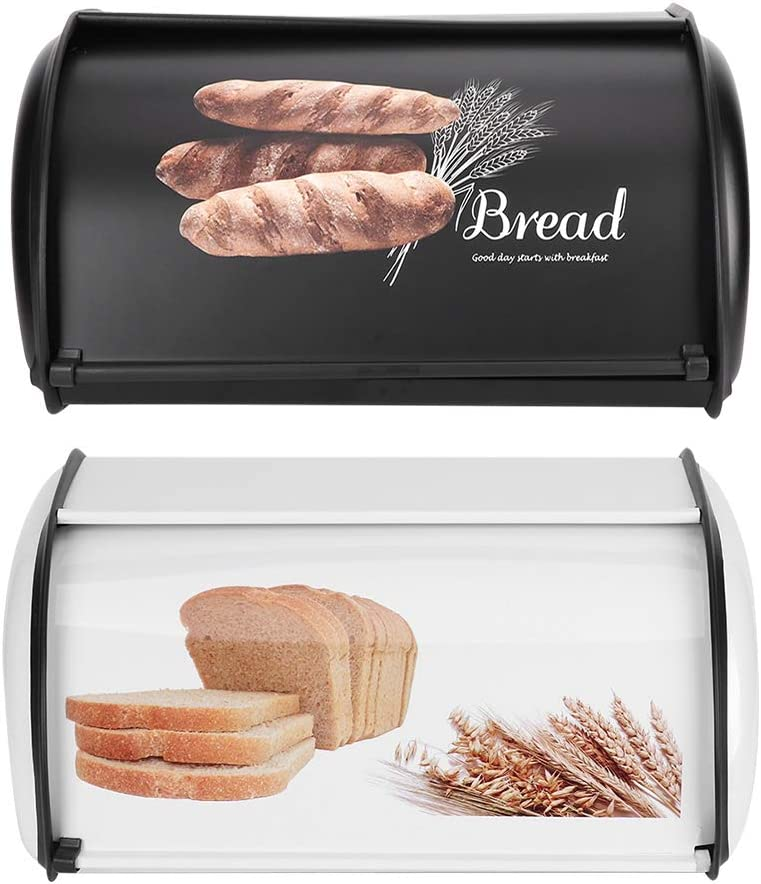 Yuehuam Bread Box Stainless OFFicial mail 1 year warranty order Storage Container Steel Organi