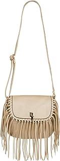 styleBREAKER Damen Umhängetasche mit Fransen und Steckverschluss, Schultertasche, Fringe Bag, Crossbody Bag 02012300, Farb...