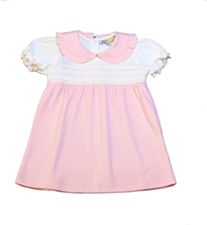 Baby Girls' 100% Organic Pima Cotton Dress - Pink Smocked Easter Dress Diaper Cover