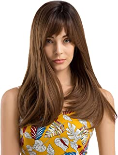 Women's Long Brown Wig – Auflaund Natural Premium Long Straight Light Brown Wigs with Side Bangs for Women Heat Resistant ...