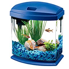 Compact fish Tank with a contemporary design and elevated base Simple to setup and maintain, looks great in any room Sleek, low profile LED energy efficient light hood with feeding hole Includes Aqueon QuietFlow filtration as well as food and water c...