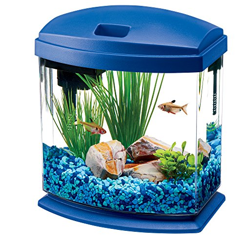 Aqueon LED MiniBow Aquarium Starter Kit with LED Lighting, 1 Gallon, Blue