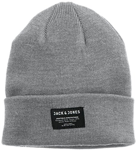 Jack & Jones Herren Strickmütze Gr. One Size, Grau - Grey melange