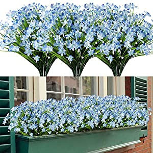 HAPLIA 8 Bundles Artificial Daffodils Flowers, Fake Artificial Greenery UV Resistant No Fade Faux Plastic Plants for Wedding Bridle Bouquet Indoor Outdoor Home Garden Kitchen Office Table Vase (Blue)