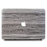 Onkuey Compatible with MacBook Pro 15 Case 2018 2017 2016 Release A1990/A1707, Premium PU Leather Hard Shell Case Cover for MacBook Pro 15' with Touch Bar and Touch ID, Color Wood Grain Gray