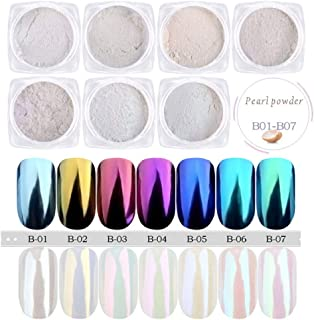PrettyDiva Chrome Nail Powder - 7Jar Pearl Powder Aurora Iridescent Nails Powder Set, Metallic Nail Powder Mirror Effect Manicure Pigment
