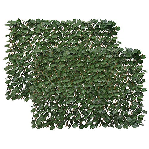 Garden Land Artificial Leaf Faux Ivy Expandable/Stretchable Privacy Fence Screen (2PC,Single Sided Leaves)…