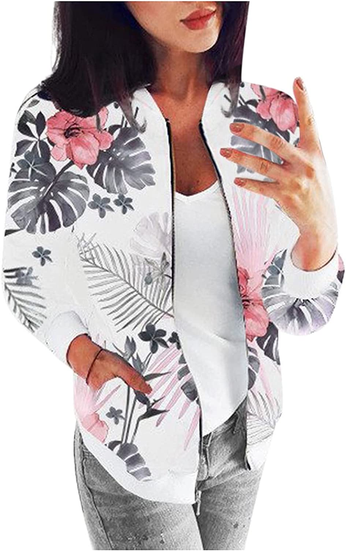 Women Long Sleeve Retro Floral Bomber Jacket Zipper Baseball Jacket Printed Coat