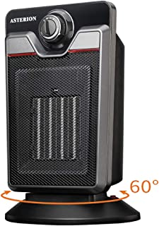 ASTERION Electric Space Heater with Adjustable Thermostat, 1500W Portable Oscillating Personal Ceramic Heater with Overheating Tip Over Protection for Indoor Office Home Bedroom Desk Use, ETL Black