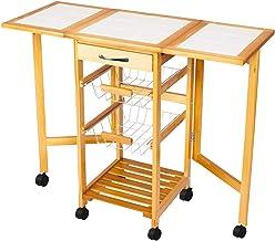 Portable Folding Kitchen Cart Rolling Tile Top Drop Leaf Kitchen Storage Trolley Cart Square Solid Wood Folding Dining Car...
