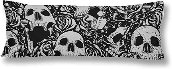 InterestPrint Skulls And Roses Body Pillow Covers Case Protector Rectangle With Zipper 21x60 Twin Sides For Sofa Decorative