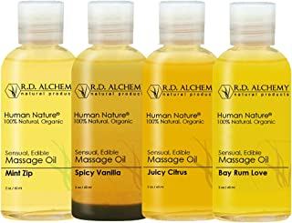 100% Natural & Organic Edible Massage Oil Sample Pack. Contains All 4 Flavors - Bay Rum Love, Juicy Citrus, Spicy Vanilla,...