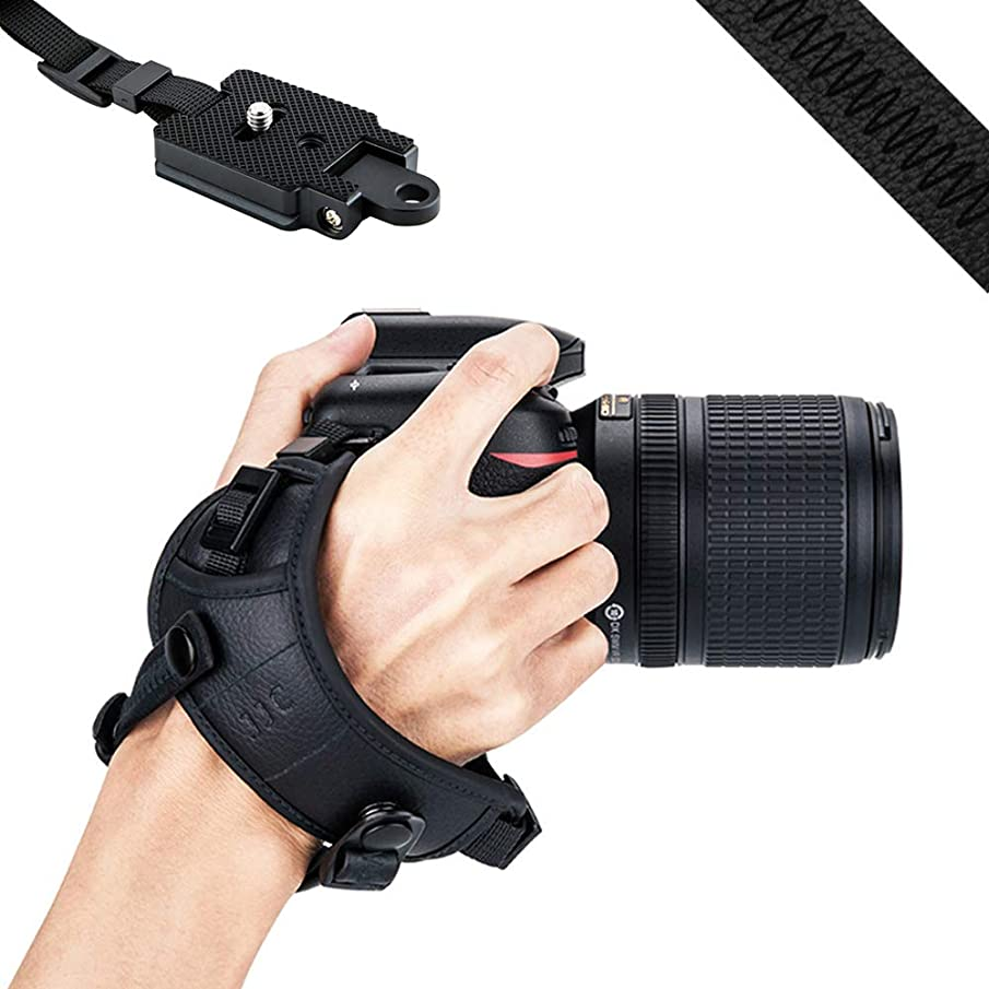 JJC DSLR Camera Wrist Hand Strap Grip w/Arca Swiss Type Quick Release Plate for Canon 7D 7DM2 6DM2 5DM4 5DM3 5Ds R 80D 77D 70D 60D T7i T6s T6i Nikon D850 D810 D750 D610 D7500 D5600 D5500 D3500 -Black