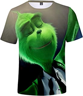 AMOMA Unisex The Grinch 3D Printed Face Green Youth Casual T-Shirt Short Sleeve O-Neck Tops Tees