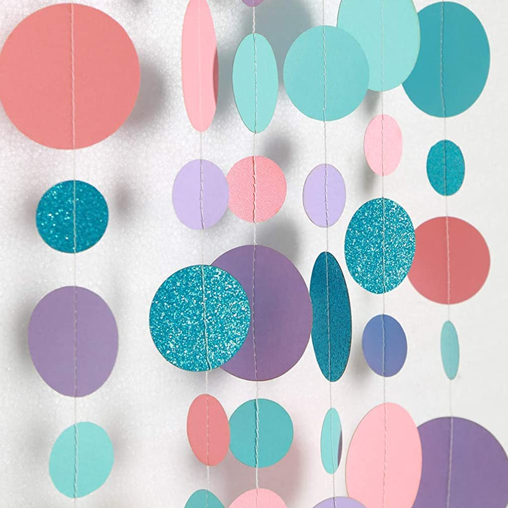 Coral Purple and Blue Circle Dot Garland for Party Decoration Summer Mermaid/Under The Sea/Beach/Pool Side Hanging Bubble Streamer Backdrop Bunting Banner for Wedding/Baby Shower/Birthday/Kids Room