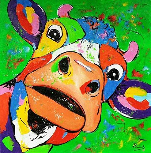 Ikogto Zestawy do malowania według liczb zwierzęcych_zrób-to-sam akrylowy obraz dla dorosłych i dzieci z farbami_do dekoracji ścian domowych_40 x 40 cm_ bez obręczy