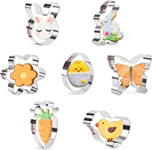 KAISHANE Easter Cookie Cutter Set - 7 Pieces Stainless Steel Cookie Cutters Egg,Bunny,Bunny Face,Butterfly,Flower,Chick,Ca...