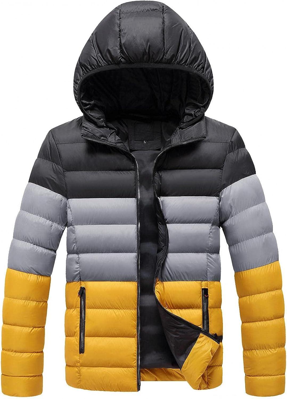 LEIYAN Mens Hooded Down Jackets Casual Long Sleeve Baggy Zip Up Colorblock Windproof Thermal Jacket