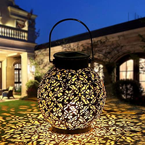 CRZJ Linterna Solar, luz Solar LED Impermeable para jardín, Linterna Colgante de Metal Decorativa con energía Solar para jardín, Patio, Patio y Mesa,1 Pack