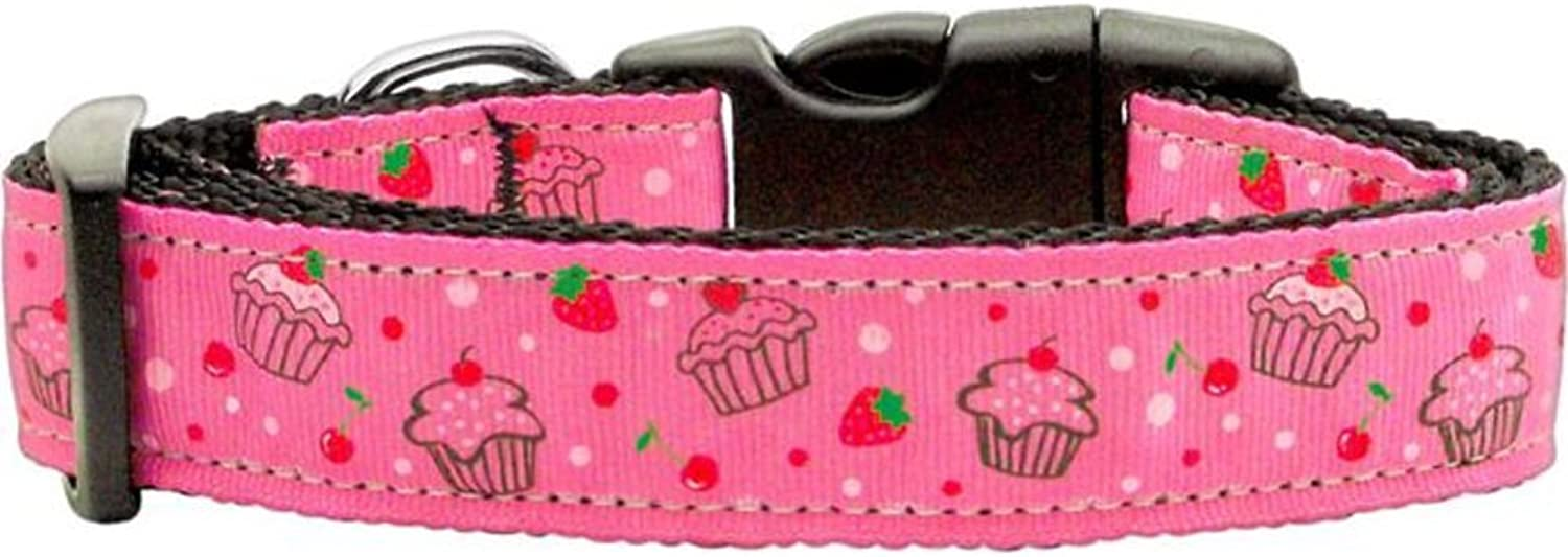 Mirage Pet Products Cupcakes Nylon Ribbon Collar for Pets, Large, Bright Pink