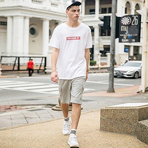 MN Sommer Rundhals Kurzarm-T-Shirt Herren-Baumwoll-Casual Herren T-Shirt Druck T-Shirt,Weiß,XXL