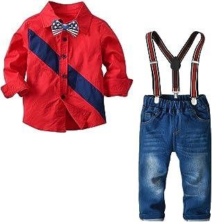 قمصان ملابس الأولاد الصغار من NSHIRTS، ملابس أعياد الميلاد، ملابس بأكمام طويلة، ربطات عنق على شكل قوس + حمالات سراويل من ا...