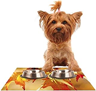 "Kess InHouse Angie Turner""Autumn Leaves"" Vibrant Orange Feeding Mat for Pet Bowl, 18 by 13-Inch"