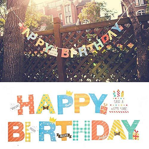DIWULI, Happy Birthday Girlande zum Aufhängen, Spruchband, Wimpel-Kette Schriftzug, Geburtstagsgirlande, bunter Geburtstags Banner für Geburtstagsfeier, Garten-Party Deko, Motto-Party, Dekoration
