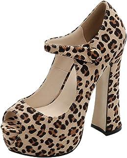 Skapee Women Fashion Block Heels Pumps Peep Toe Ankle Strap