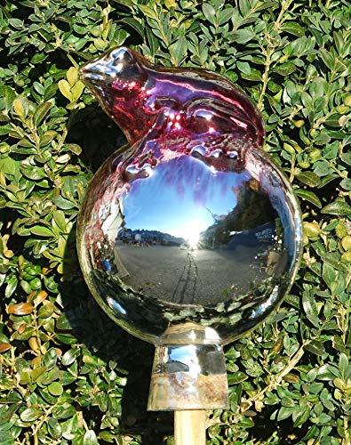 ELIAS Glashütte Original Rosenkugel Venezia Frosch auf Kugel 12 cm Pink verspiegelt
