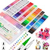 JUWINEN Coloring Art Markers Set,100 Dual Tip Markers Fine Point Water Based Marker for Kids Adults Calligraphy Drawing Sketching Coloring Bullet Coloring Books Valentine's Day Gift