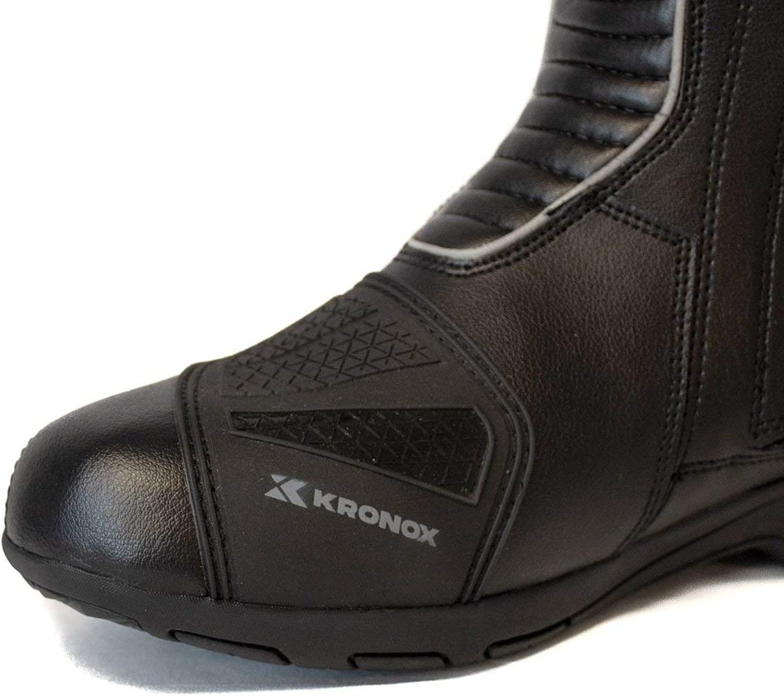 Lanin Black Motorcycle Boots for Men PU Leather Touring Water Resistant KRONOX 8.5